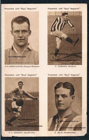 1923 uncut 4 Famous Footballer Photos